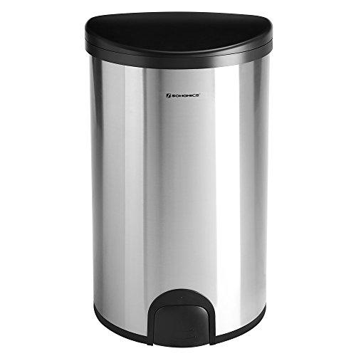 SONGMICS Mülleimer Sensor Fingerabdruckfrei Fußsensor 50 L mit Druckring Geruchsdichter Abfalleimer für Küche aus Edelstahl Silbern LTB91NB