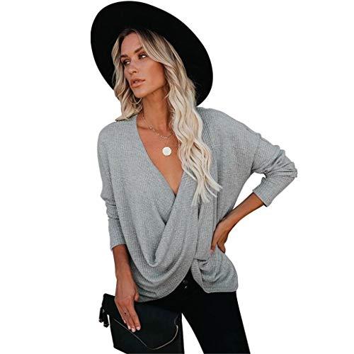 Sudaderas Mujer Invierno Elegante Camisetas Suéter Fuera del Hombro Manga Larga Jerséis Tops Mujer Jerséis Punto Suéter de Moda