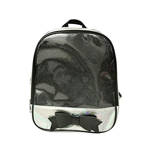 Cute Transparent Backpack Bowknot Clear Schoolbag Shoulder Handbag for Teen Girls (Black)
