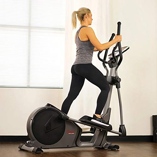 Product Image 8: Sunny Health & Fitness Magnetic Elliptical Trainer Machine w/Device Holder, Programmable Monitor and Heart Rate Monitoring, 330 LB Max Weight – SF-E3912, Silver