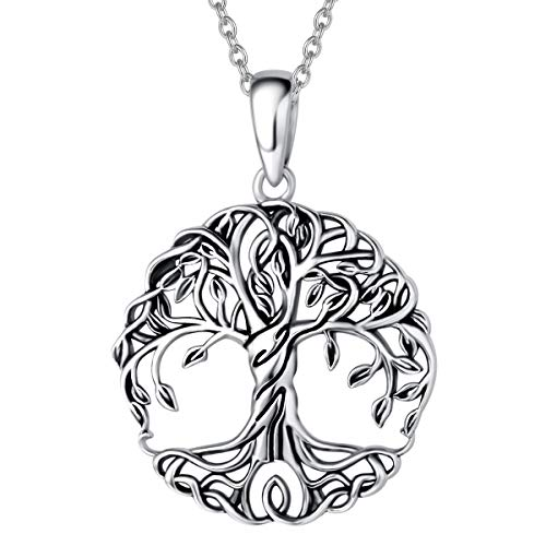 Agvana Sterling Silver Tree of Life Celtic Knot Dainty Pendant Necklace Family Tree Necklace Anniversary Birthday Jewelry Valentines Day Gifts for Women Teens Girls Mom Grandma Lover with Velvet Bag