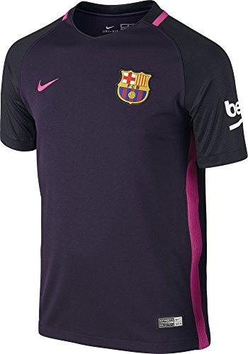 NIKE FC Barcelona YTH SS AW Stadium JSY Camiseta de Manga Corta, Hombre, Morado (Purple Dynasty/Black/Vivid Pink), XS