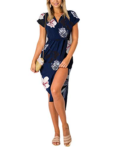 YOINS Damen Sommerkleid Lang V-Ausschnitt Maxikleider Strandkleid Strandmode, Blumenmuster, Gr.- EU 36-38/ Herstellergröße- S