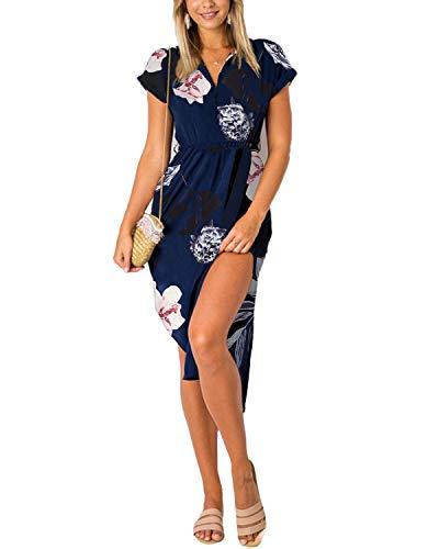 YOINS Sommerkleid Damen Lang V-Ausschnitt Maxikleider für Damen Kleider Strandkleid Strandmode Blumenmuster EU32-34