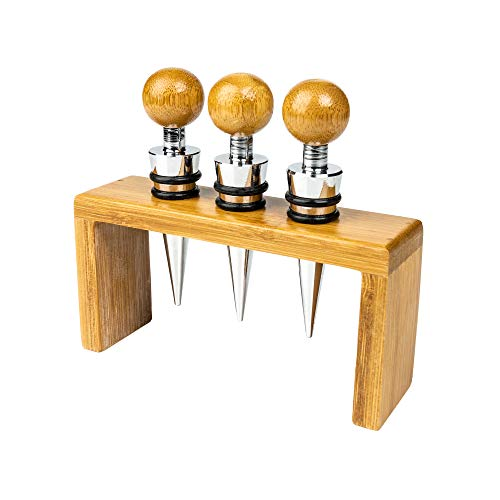 Grunwerg 4WS/BB 3er Set Weinverschlüsse & Stand aus Bambus, Bamboo