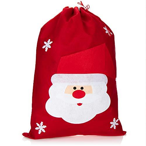 com-four® XL Geschenksack für Weihnachten mit Weihnachtsmann Motiv - Nikolausbeutel zum Befüllen - Weihnachtssack für Weihnachtsmannkostüm