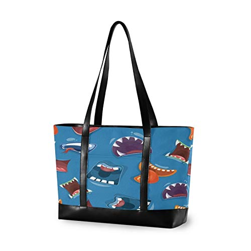 Colorful Cartoon Monster Mouths Canvas Laptop Tote Bag for Women, Multifunctional Work Travel Shopping Duffel Carrying Shoulder Handbag Compatible for 14 inch to 15.6 inch Laptop Bag