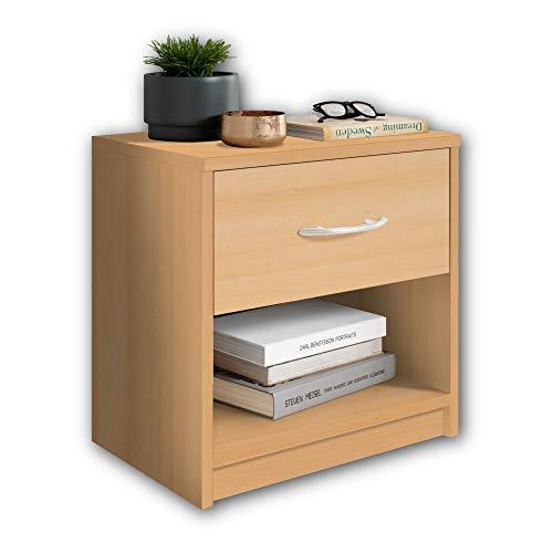 Stella Trading PEPE Nachttisch in Buche Optik - Schlichter Nachtschrank mit einer Schublade passend zu jedem Bett & Schlafzimmer - 39 x 41 x 28 cm (B/H/T)