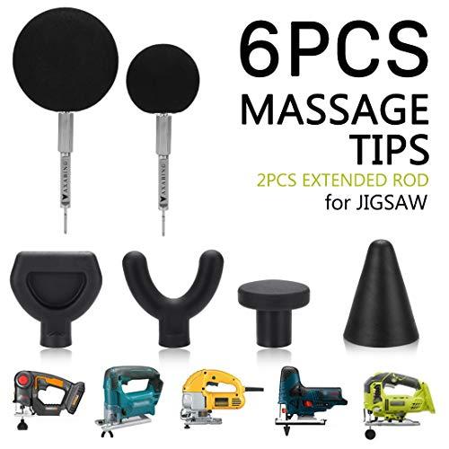 Jigsaw Massage Adapter Bit, Mobility Jigsaw Massage Balls, 6-Piece Bit Sets Muscle Relaxation Trigger Point Massager Heads (Black)