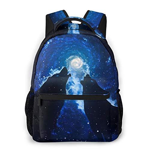 yyoungsell Fashion Backpack for Girls Boys Galaxy Wolf Print Cute School Bag Bookbag Daypack