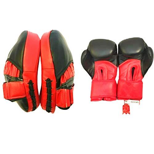 Unbranded Sports Ensemble gants de boxe et coussinets de mise au point en cuir, sac de sparring, crochet, jab, gym, entraînement MMA