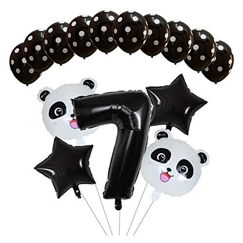 Yanqhua Globo Ducha Globo Número 15pcs Negro Animal de la Historieta de la Hoja Conjunto Star del cumpleaños de los niños decoración de la Panda del bebé Animales de los niños Ballon (Color : Pink-7)