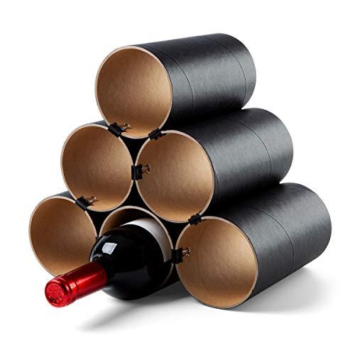 corpus delicti :: Weinheim - Flaschenregal - Weinregal aus Hartpapier - Basisversion für bis zu 11 Flaschen - erweiterbar (6 Hülsen schwarz) (76.0-6er)