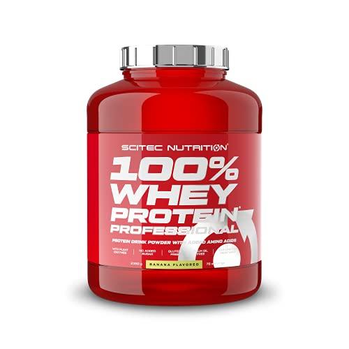 Scitec Nutrition 100% Whey Protein Professional con aminoácidos clave y enzimas digestivas adicionales, sin gluten, 2.35 kg, Plátano