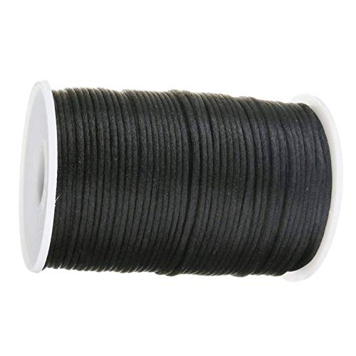 RENSHENKTO Chino Knotting Cord Yards Hilo de Nylon Rebordear Rattail Satén Trim Negro
