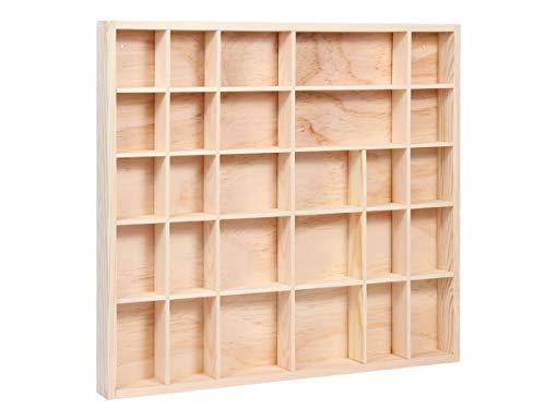 Alsino Setzkasten Holz Deko Regal Natur (Sk-17) Sammlerkasten Sammlervitrine Sammelbox Unbehandelt Figuren Mineralien SK-16-19