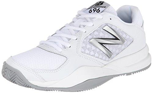 New Balance Women's 696 V2 Tennis Shoe, White/Silver, 9.5 B US