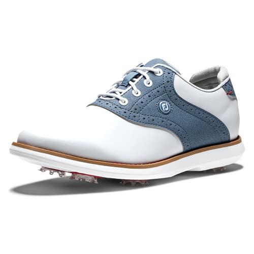 FootJoy Women's Traditions Golf Shoe, White/Blue, 9.5