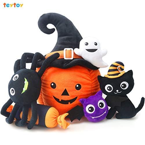 My First Halloween Pumpkin Toys,teytoy Nontoxic Fabric Baby Cloth Activity Crinkle Halloween Playset Halloween Gift, Halloween Party Decoration for Infants Boys and Girls