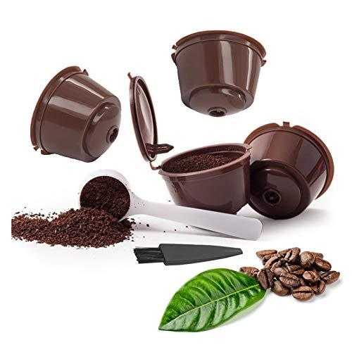 Ricaricabile Dolce Gusto Capsule Ricaricabili Dolce Gusto Capsule per Caffè Ricaricabili per Nespresso Capsule per caffè ricaricabili Pennello con cucchiaio(4 pezzi)