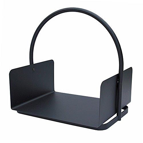 JVL Conway modern accessoire voor de open haard Log kolenhouder, staal, zwart, 41 x 47 x 30 cm