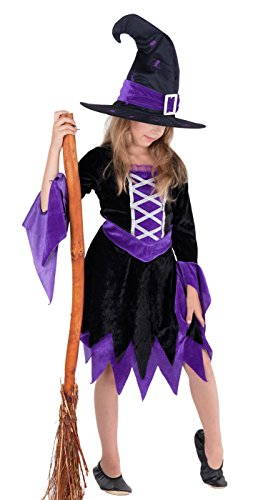Witch Magician costume for girl kids Halloween purple and black - fancy dress outfit child girls: dress & hat 9-11 years (134/140)
