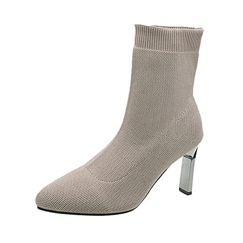 QIUTIANQ Señoras Stiletto Tacones Altos Botas Lana De Tela Calcetines Moda Botas Botines Puntiagudos De Malla Zapatos De Punta Redonda Ligeros Antideslizantes Absorción De Impactos (Marrón Claro, 36)