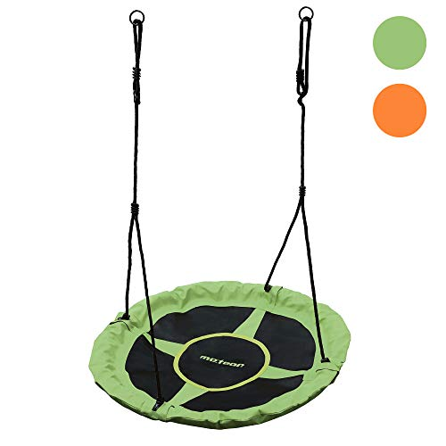Columpio Infantil Ajustable - Nido para Niños y Adultos Columpio Redondo 100cm Diámetro Peso máximo hasta 150 kg - para Hogar Jardín Casa Exterior Aire Libre Giro (Verde)