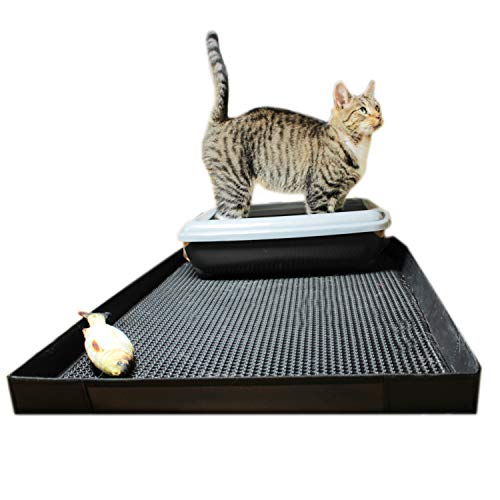 O&K GRUPPE Katzenklo Matte mit Kanten, Katzentoilette Waben Design,Katzenstreu doppelte wasserdichte 75 * 55 * 4 mit Spielzeug