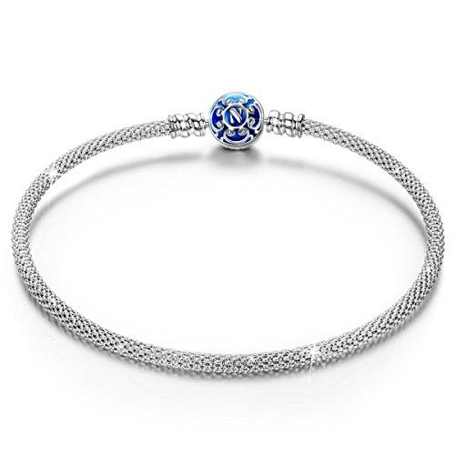 NINAQUEEN Pulsera 19 CM Azul Malla Regalos Mujer Originales Plata de Ley 925 Esmalte Brazalete para Niñas Madre Hija Esposa de Cumpleaños