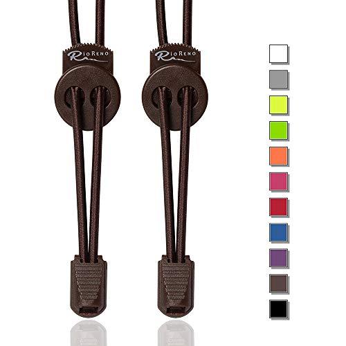 RioReno Elastische Schnürsenkel mit Schnellverschluss Schnellschnürsystem ohne Binden, schleifenlose Schnürsenkel, Gummi Schnürsenkel, Perfekter Sitz und starker Halt, in 11 Farben erhältlich (Braun)