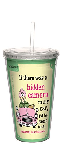 Boomvrije groet Aunty Acid verborgen camera dubbelwandige cool mok met herbruikbaar rietje, acryl, meerkleurig, 473 ml