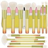Set de Brochas de Maquillaje, HICOO Brochas de Maquillaje con Una Bolsa de PU, Brochas Maquillaje Profesional Cepillo de Sombra de Ojos 14 Piezas