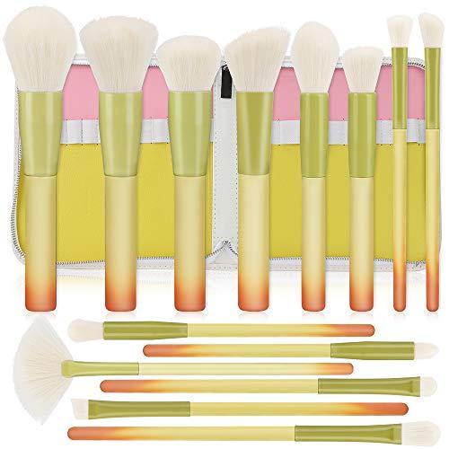 Pinceaux Maquillages, HICOO Ensemble de Pinceaux de Maquillage avec un sac en PU, Pinceau Fond de Teint Pinceau Fard à Paupières 14 Pièces