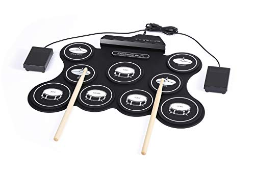Sale!! LNLJ Portable Electronic Drum Pad - USB Roll-Up Drum Practice Kit - 9 Labeled Pads and 2 Peda...