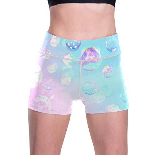 RURUTONG Pantalones cortos de yoga para mujer, cintura alta, pantalones cortos de entrenamiento, control de barriga, pantalones de yoga con bolsillos - - M