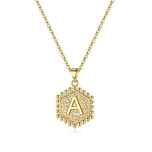 M MOOHAM Hexagon Gold Initial A ...
