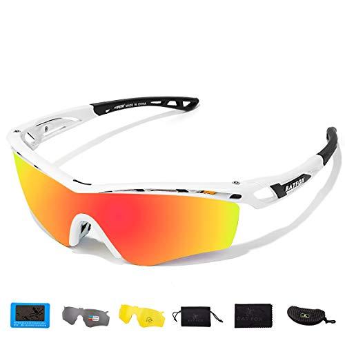 BATFOX Polarisierte Sonnenbrillen Fahrradbrille für Sportbrille Fahrrad Baseball Skifahren Sport Brille Herren Damen Junior mit Wechselobjektiven unzerbrechlichem Rahmen 100% UV400 Schutz (Weiß)