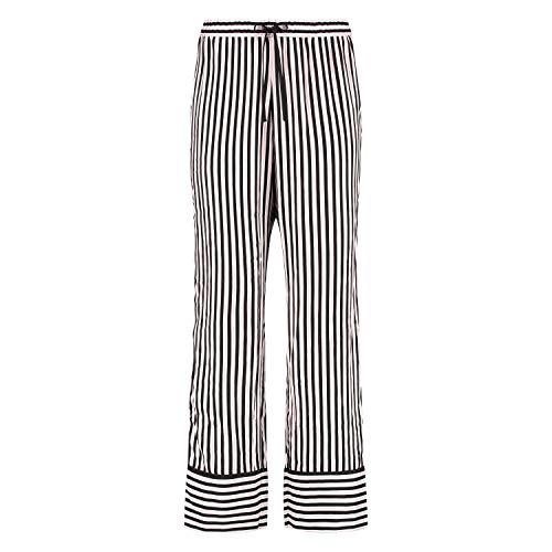 HUNKEMÖLLER Kuschelige gewebte Lange Damen Pyjama-Hose mit Streifen Schwarz M