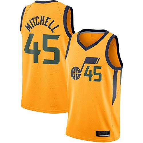 Naranja - Casual Tops Al Aire Libre Donovan Deportes Competición Trajes Utah Baloncesto Jersey #45 Secado Rápido Mitchell Competition Jersey Jazz Para Hombres