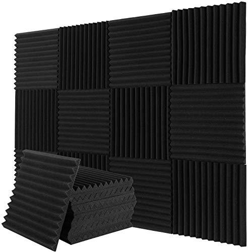 uyoyous Lot de 24 panneaux d'isolation acoustique en coton absorbant le son, en forme de triangulaire, en mousse acoustique, décoration murale, plafond, mousse ignifuge, 30 x 30 x 2,5 cm, noir
