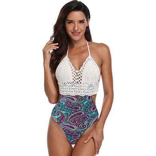 Frashing Damen Halter Bikini-Sets Weiß Stricken Bikini Oberteil Zweiteilige Badeanzug Strandkleidung Blumen Bikinihose Triangel Bikini Push-up Strandmode