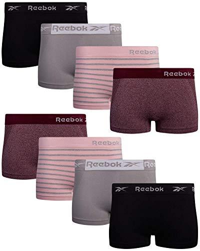 Reebok Women's Underwear - Seamless Boyshort Panties (8 Pack), Size Large, Jaquard/Lotus/Denim/Sleet