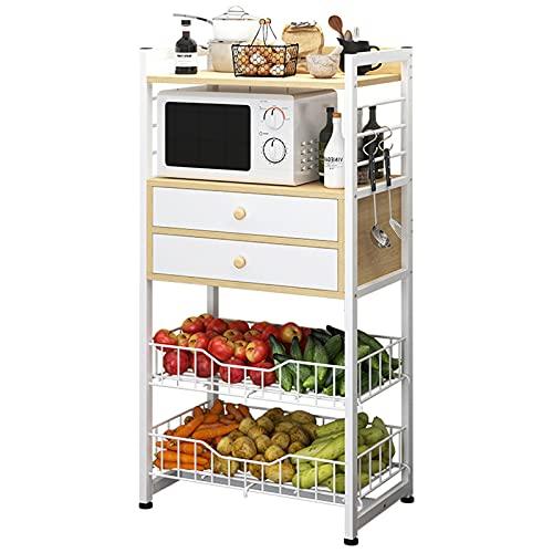 YDYBY Carro de Almacenamiento de 4 Niveles,para Cocina y Baño,con cajón Organizador de estantes, Estante de Cocina, para Baño, Cocina, Oficina, Salón