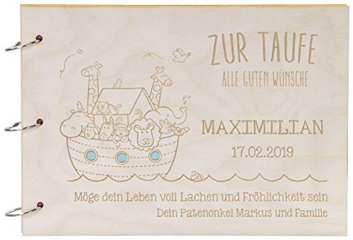 LAUBLUST Foto-Album aus Holz mit Gravur - Arche Noah - Personalisiertes Geschenk zur Taufe - 31x22cm, Natur, A4-Format
