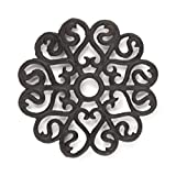 gasaré, Cast Iron Trivet, Metal Trivet, Decorative Victorian, for Hot Dishes, Pots, Kitchen, Countertop, Dining Table, with Rubber Feet Caps, Solid Cast Iron, 8 Inch Large, Rustic Brown Finish, 1 Unit