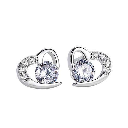 Amilril Earrings, Love Heart Stud Earrings, 925 Sterling Silver Cubic Zirconia Fine Jewellery Elegant Gift Box