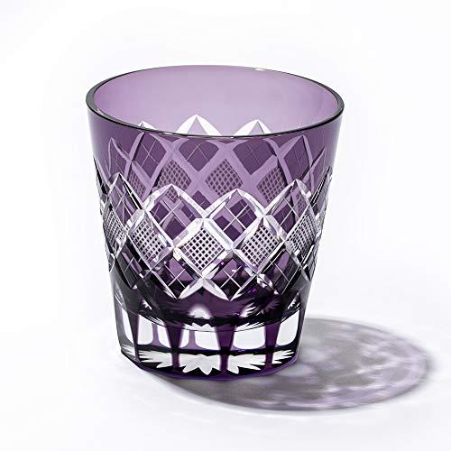 江戸切子矢来魚子紋天開オールドグラス(紫)TB90425M木箱入り太武朗工房直販日本製