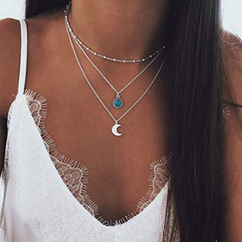 Yean Boho Turquoise Necklace Layered Moon Pendant Necklace Silver Jewelry for Women and Girls