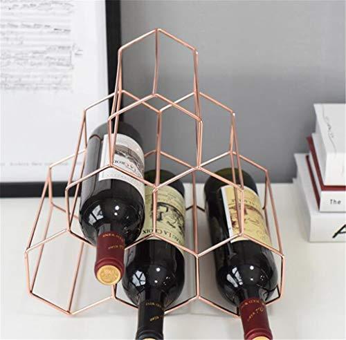 LBYSK Wine Rack Bottiglia di Vino Display a Vuoto Mostra Ferro Decorazione in Metallo elettrolitico Rose Gold Bar casa di UVA da Vino Cremagliera conveniente per Risparmiare Spazio,Rose Gold